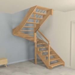 Escalier demi tour à limon crémaillère bois d'un côté et poteaux bois, modèle design sans contremarche