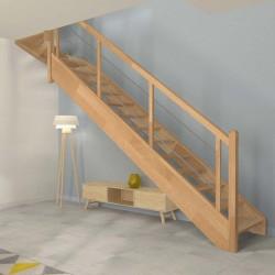 Escalier 1 4 tournant haut en bois sans contremarche