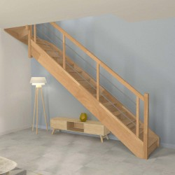 Escalier 1 4 tournant haut en bois avec contremarches