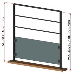 Dimensions du garde-corps étage en métal et sous bassement en verre
