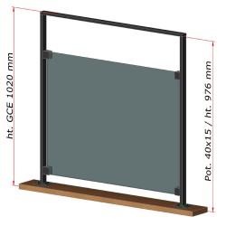 Dimensions du garde-corps étage en métal et remplissage en verre