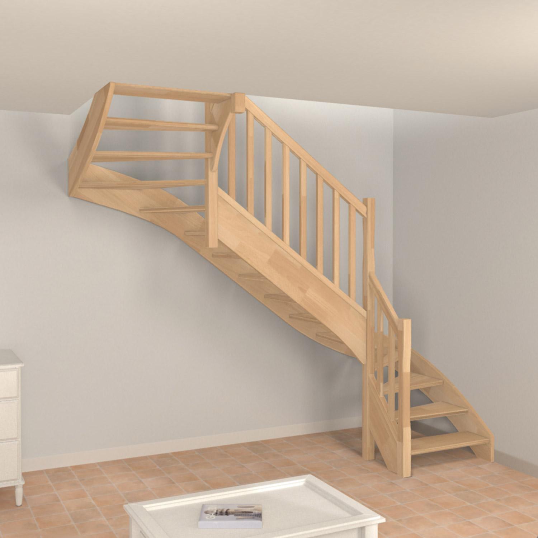 Escalier 2 4 tournant traditionnel sans contremarche