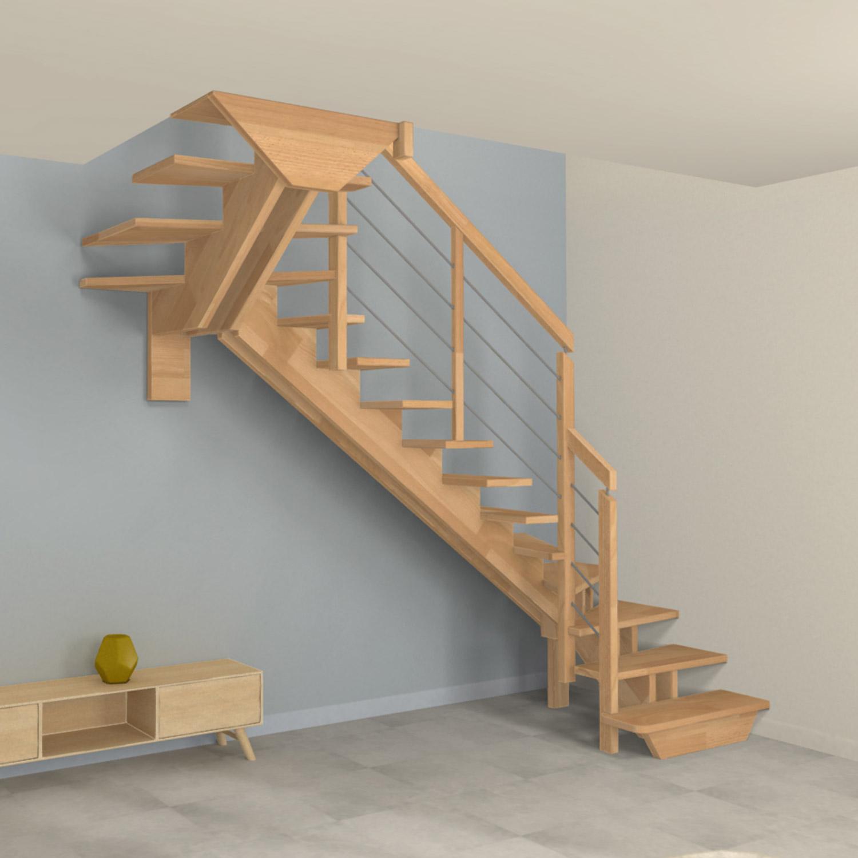 Escalier double quart tournant à limons centrés en bois