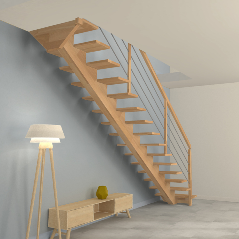 Escalier limon central en bois et poteaux en bois