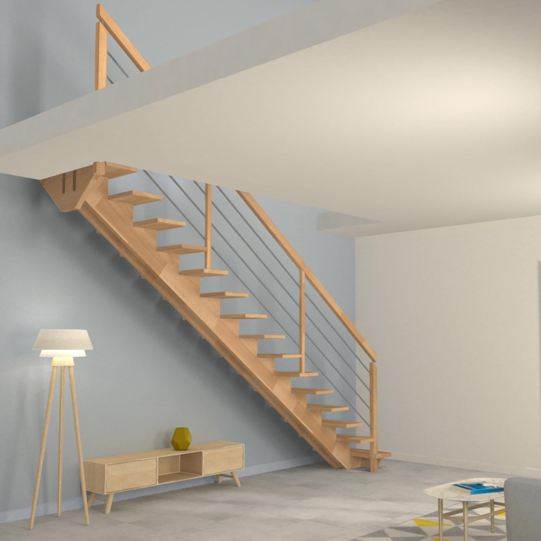 Escalier à double limons centrés en bois