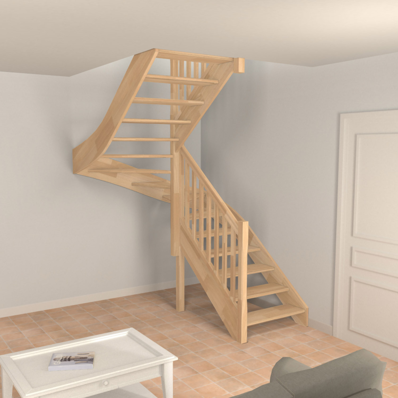 Escalier bois demi tournant sans contremarche