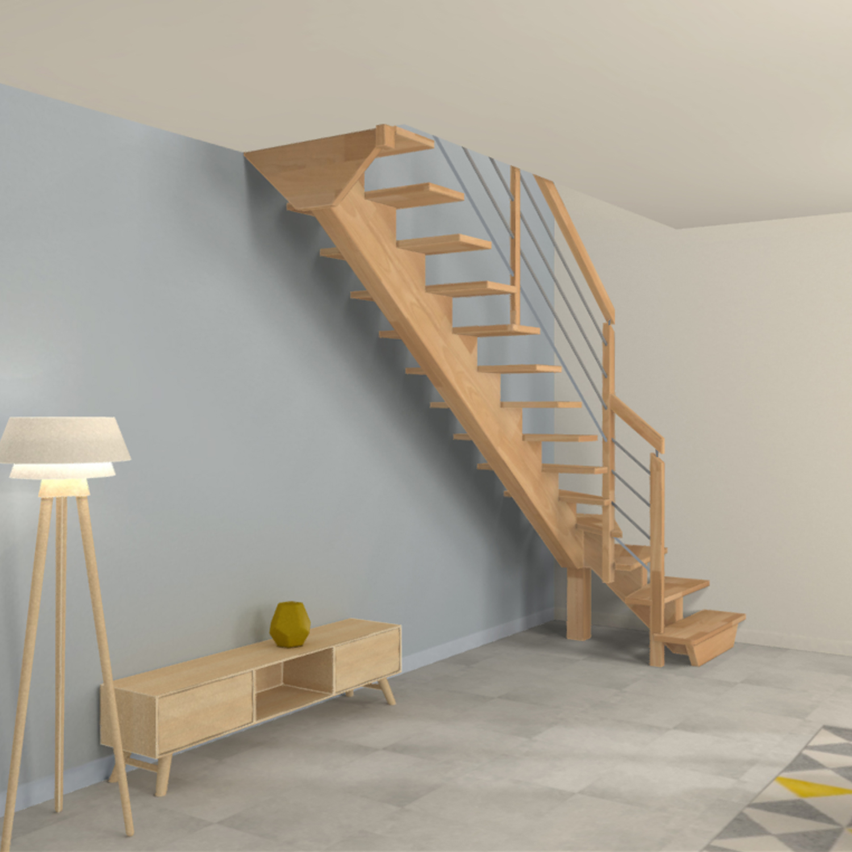 Escalier limon central en bois