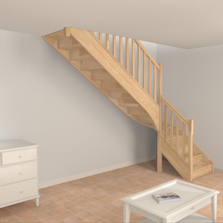 Escalier quart tournant en bois traditionnel Oéba