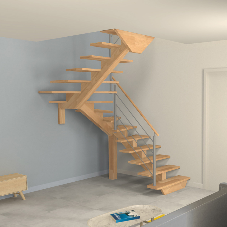 Escalier limon central 2 4 quarts tournants en bois