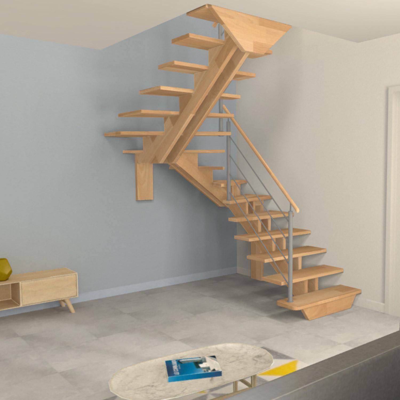 Escalier demi tour à double limons centrés en bois et poteaux en inox