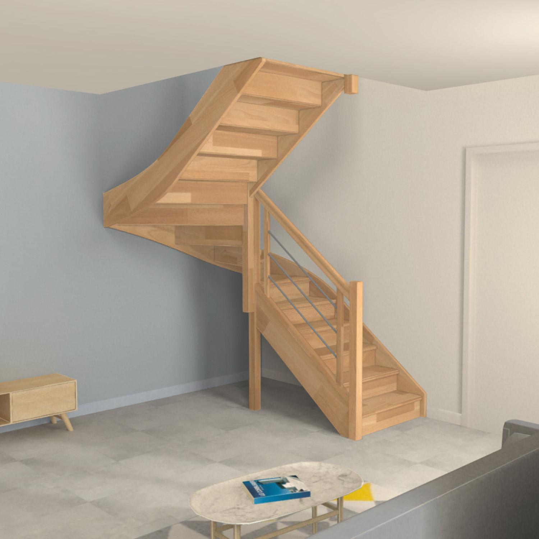Escalier demi tour en bois avec contremarches