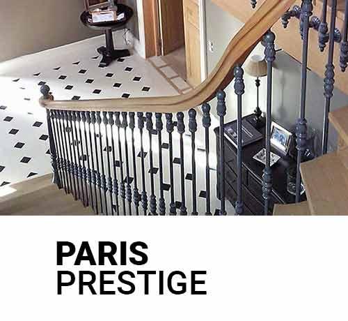 Escalier sur mesure en bois et en fer forgé de la gamme prestige Paris chez Oéba
